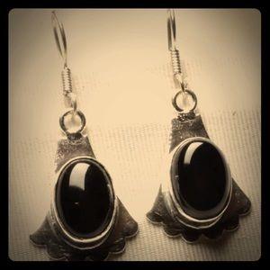 .925 SterlingSilverP Black onyx Silver Earrings